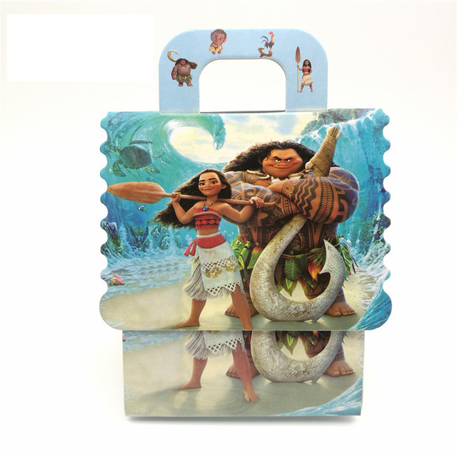 6Pcs Moana Theme Paper Bag Candy Box Gift Boy Girl Kids Baby Shower Birthday Party Decoration Supplies