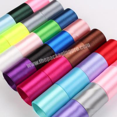Manufacturer 100% polyester  colorful satin ribbon for gift packing