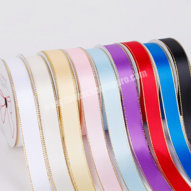 Factory 100% polyester  colorful satin ribbon for gift packing