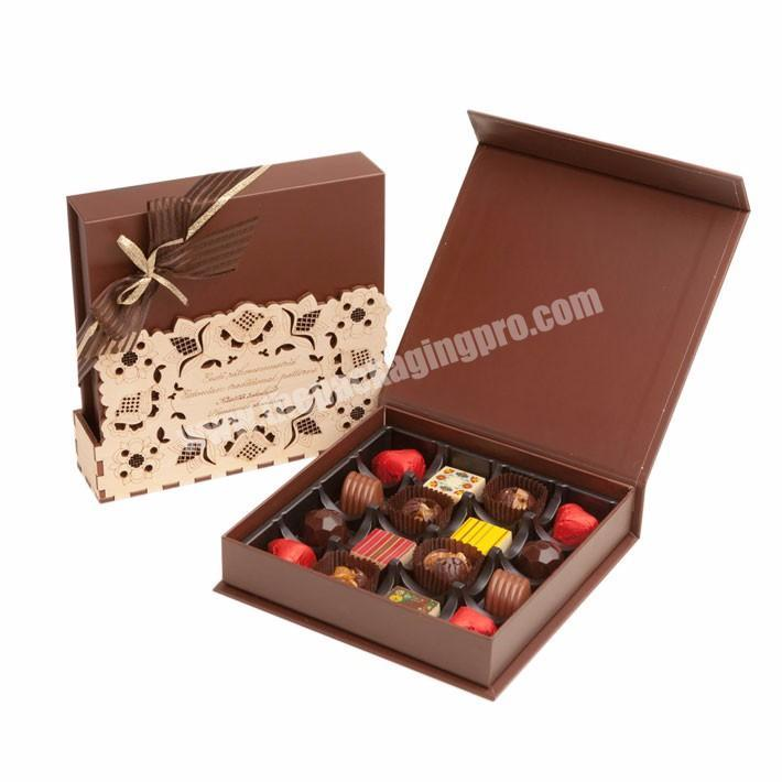 Custom 16 count chocolate truffle paperboard packaging sweetcandy boxes with printed ribbon