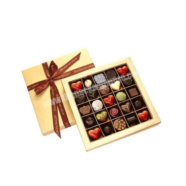 Manufacturer 16 count chocolate truffle paperboard packaging sweetcandy boxes with printed ribbon