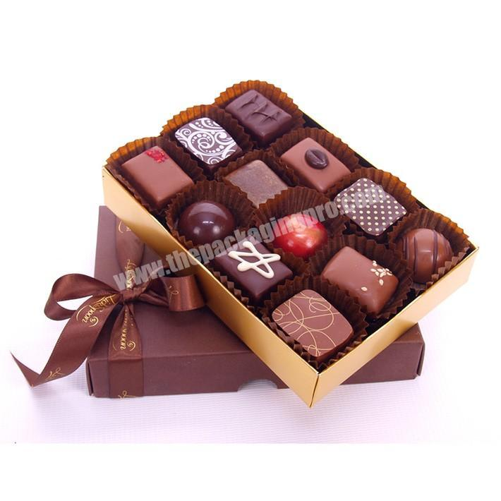 Wholesale 16 count chocolate truffle paperboard packaging sweetcandy boxes with printed ribbon