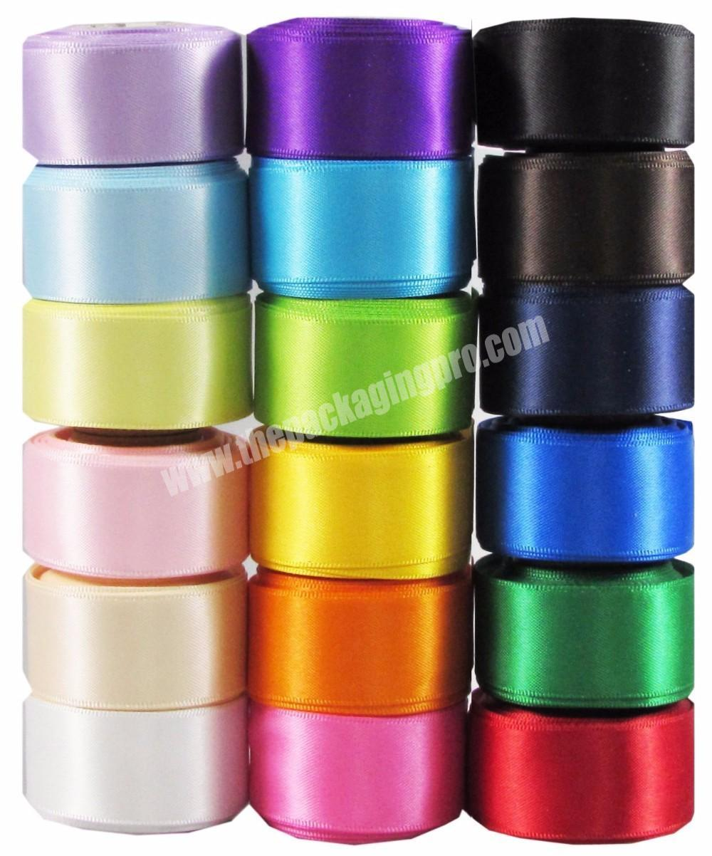 Wholesale 18inch to 4 inch high quality  double and double  face 100% polyester  colorful satin ribbon for all kind of occasion