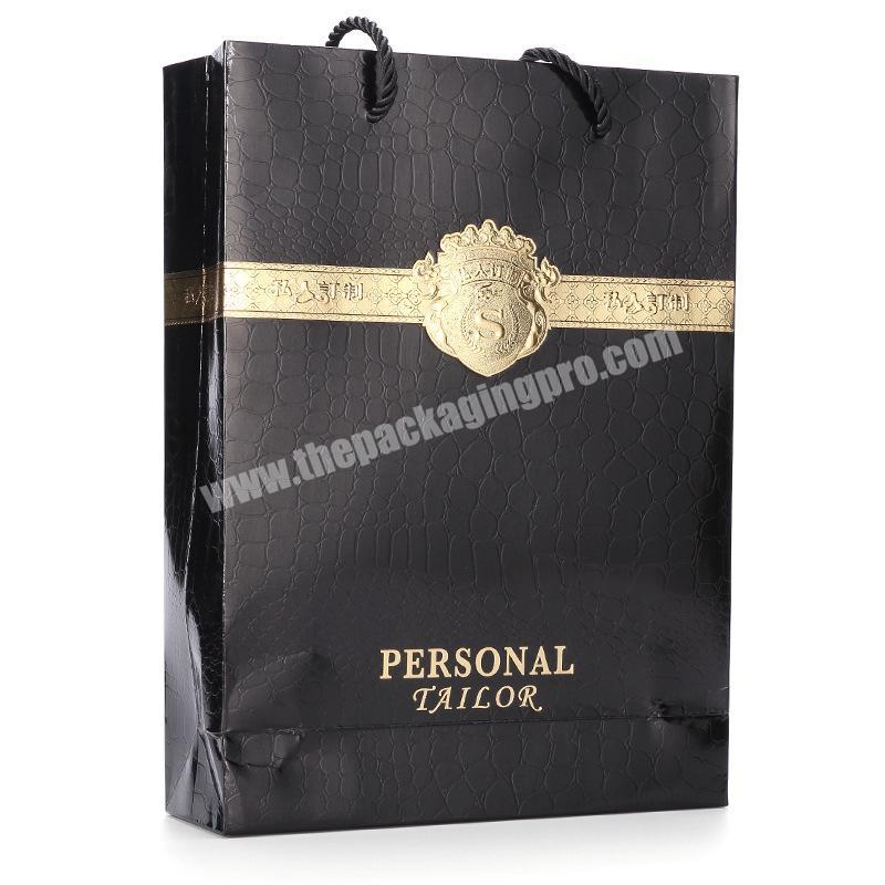 2018 Wholesale black luxury paper shopping bag for gift