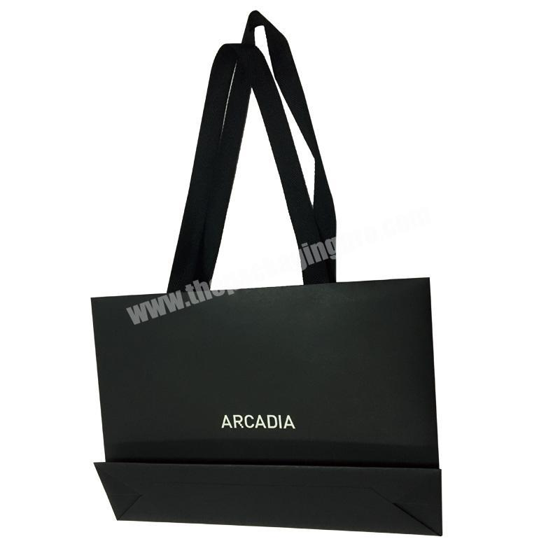 2019 New Come Custom Black Card Recycle Paper Gift Bag Made Bags White Logo