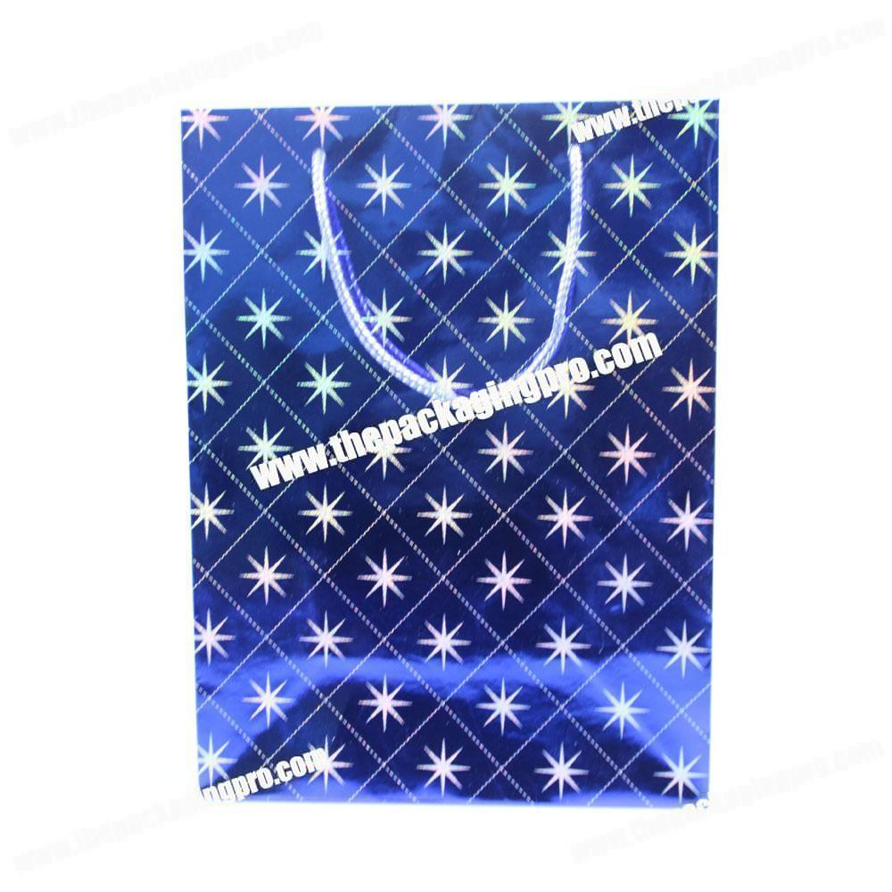 2019 New style shining snowflake four colors paper handle bag for wedding party gift packaging
