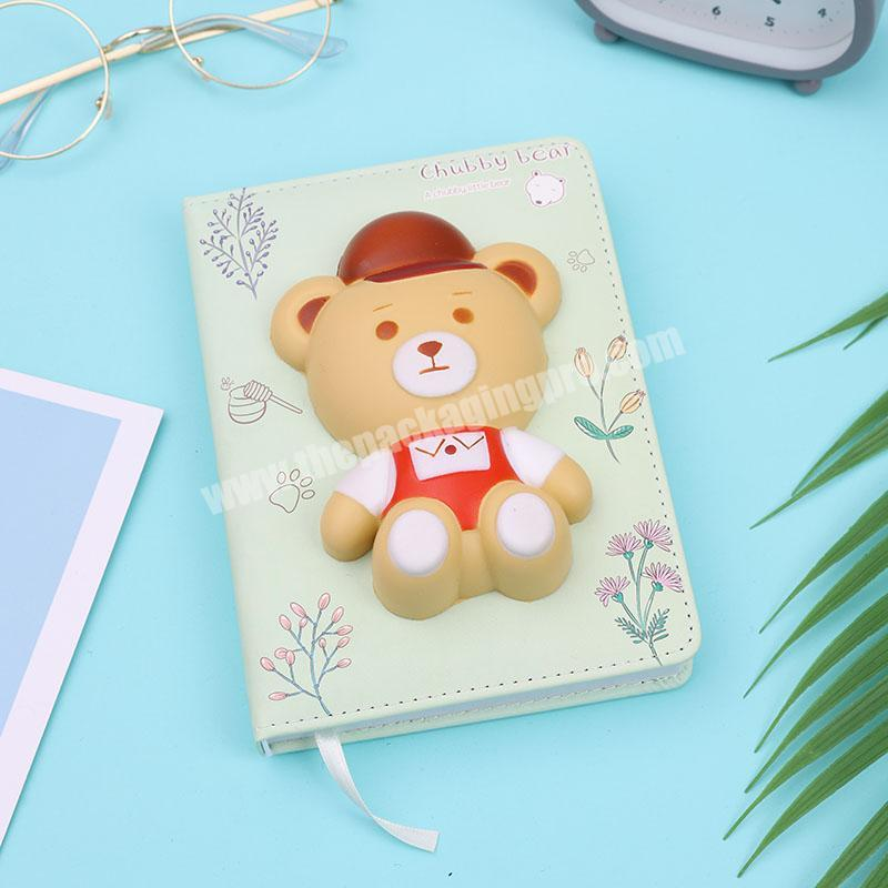 2020 cute girl  leather cartoon animal notebook planners and notebooks set for kids gift