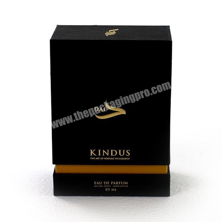 2020 hot sale lid and base design customize luxury black UV spot perfume paper box packaging