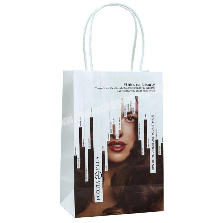 2020 Hot Sale Wholesale White Kraft Paper Bag with Custom Logo Print for Cosmetic