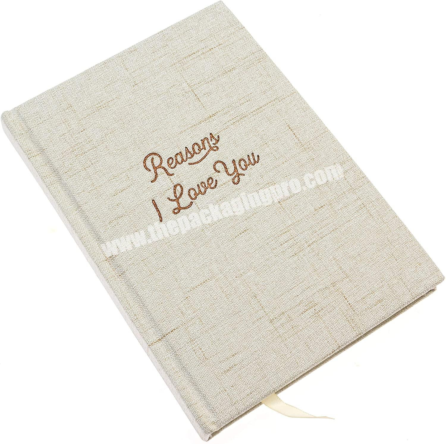 2020 Linen Cloth Cover Planners And NoteBooks Custom Diary A5 Executive Note Book Linen Canvas HardCover With Gold Foil Stamping