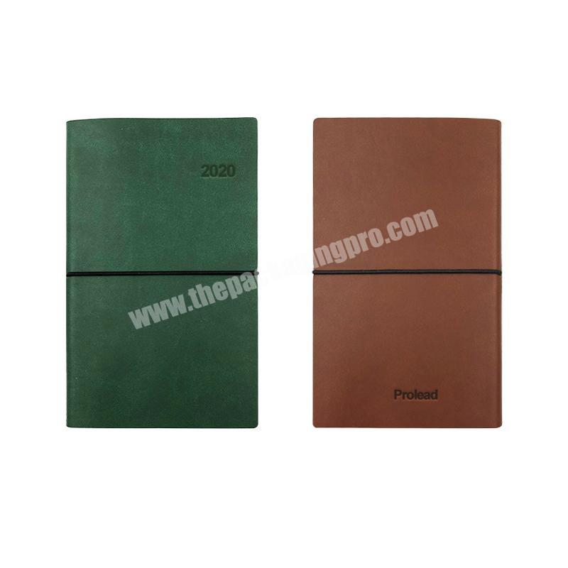 2020 New Custom LOGO Two Tone PU Leather Cover Notebook Planner with Stitching Spine