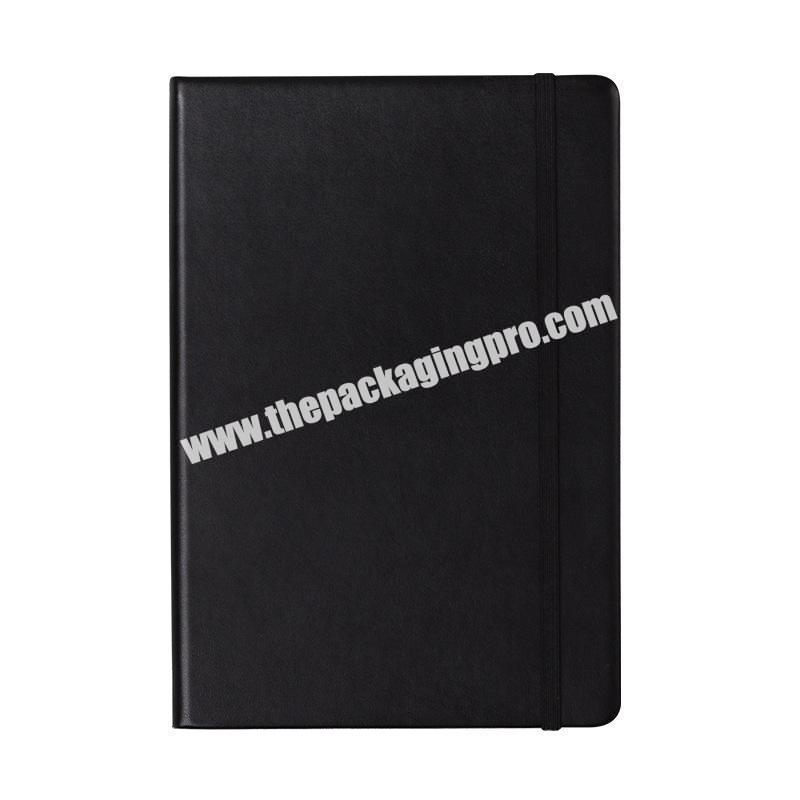 2021 New Arrivals Simple Style Black Diary Custom A5 Pu Leather Hardcover Planner School Exercise Notebook With Elastic Band