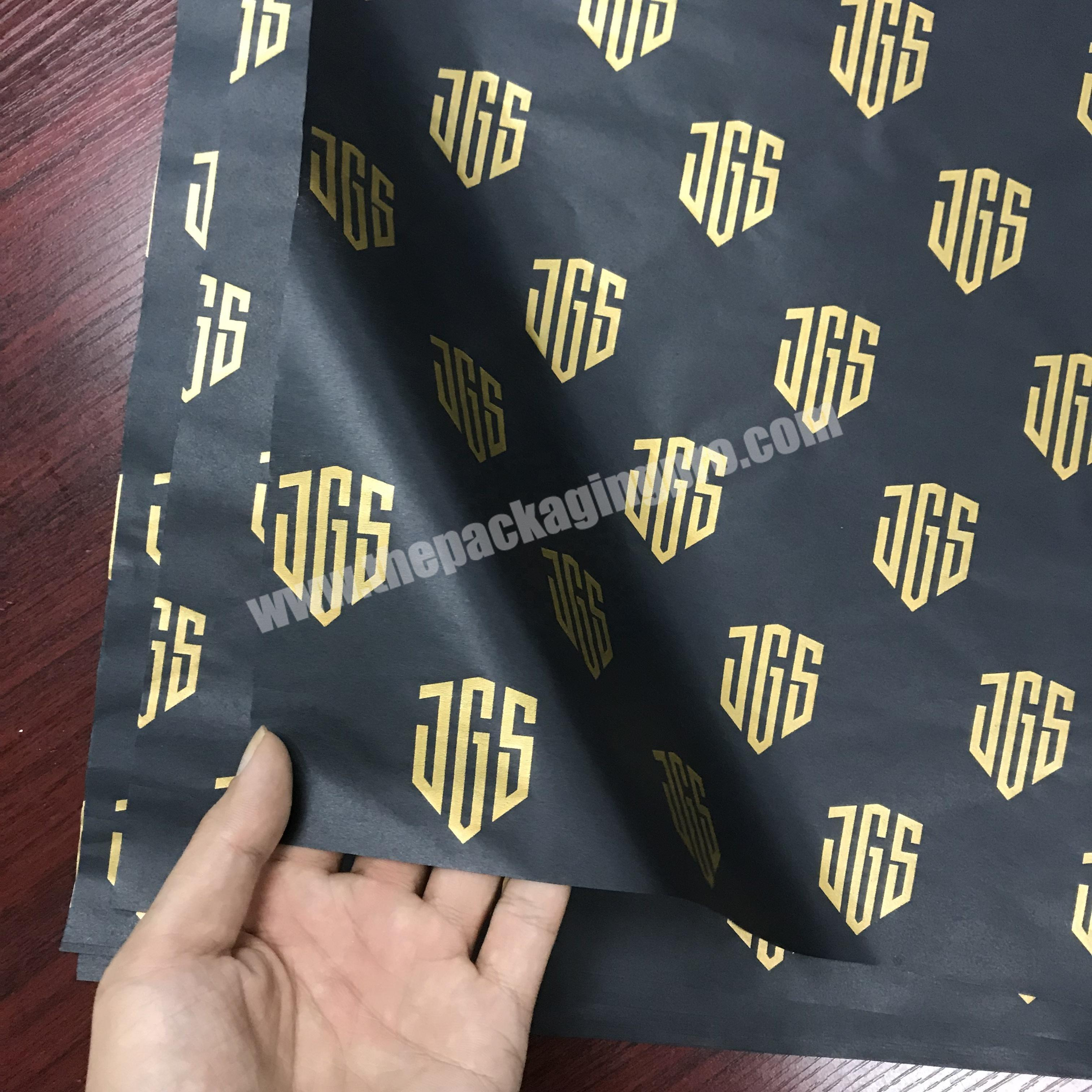 Custom gold logo printing 17g black gift tissue paper wrapping for hair extension and wig packaging