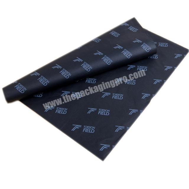 Custom 17gsm black tissue paper white LOGO printed clothing shoes wrapping paper leather packaging