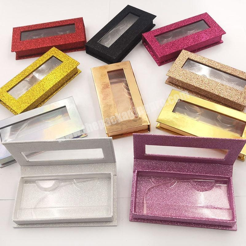 Colorful Blank DIY Lash Eyelash package box with Transparent Lid Tray