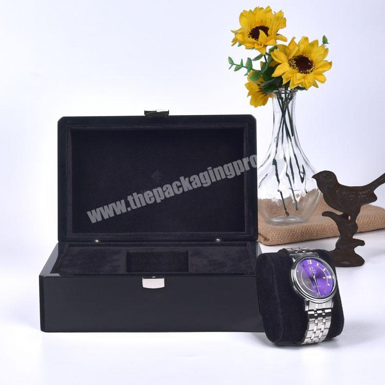 Wholesale High Quality Black Lacquered Rectangle Private Label Empty Watch Box For Watches