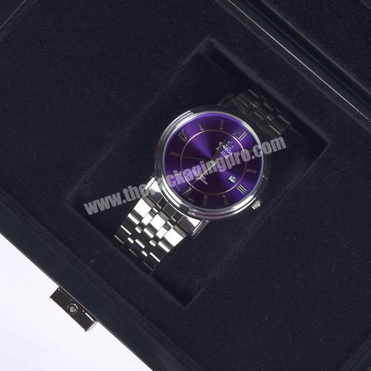 Factory High Quality Black Lacquered Rectangle Private Label Empty Watch Box For Watches