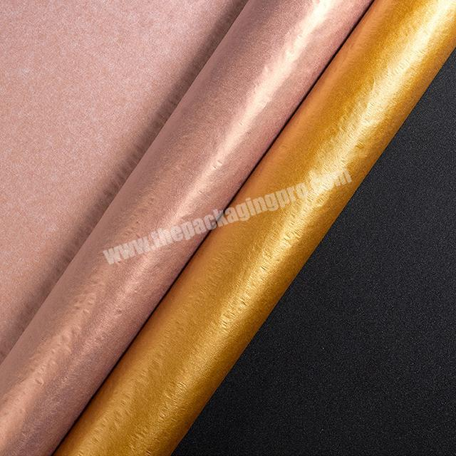 Wholesale 17g tissue wrapping paper metal color series rose gold pure gold 50 x 70cm silver paper