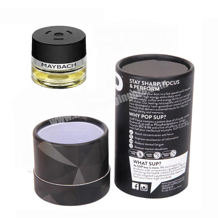 Supplier Recycled Perfume Cardboard Packaging Black Round Gift Box