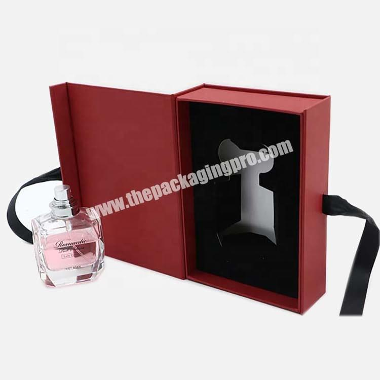Wholesale 2020 50ml Custom Red  Perfume Gift Cosmetic Paper Box With Ribbon