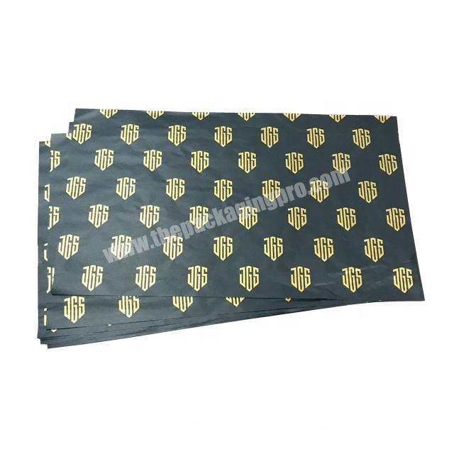 Supplier Custom gold logo printing 17g black gift tissue paper wrapping for hair extension and wig packaging