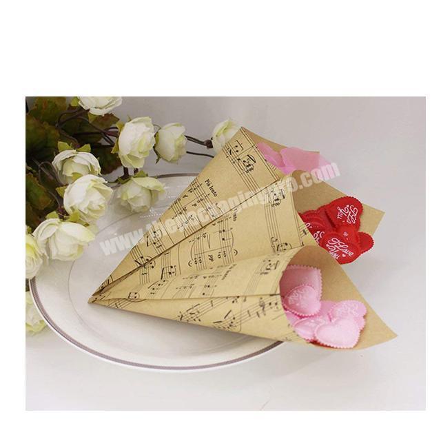 Supplier Flower Gift Packaging kraft Paper Decorating Round Brown Florist packaging Waterproof ECO flower take holder