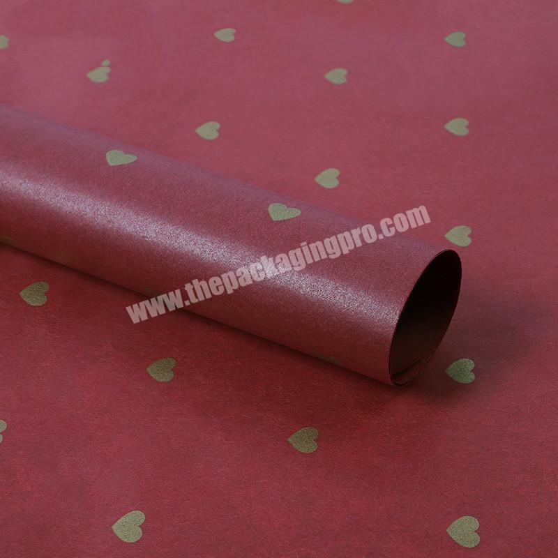 Factory Wholesale Price Customized Gold Logo Printing Black Tissue Paper With Heart Shaped For Gift Paper Tissue