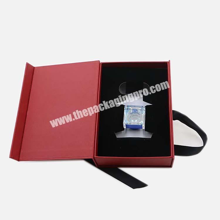 Manufacturer 2020 50ml Custom Red  Perfume Gift Cosmetic Paper Box With Ribbon