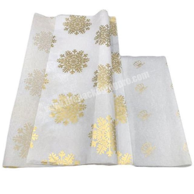 Printed 17gsm tissue paper with gold logo for Christmas gift wrap,custom printing MG white wrapping paper