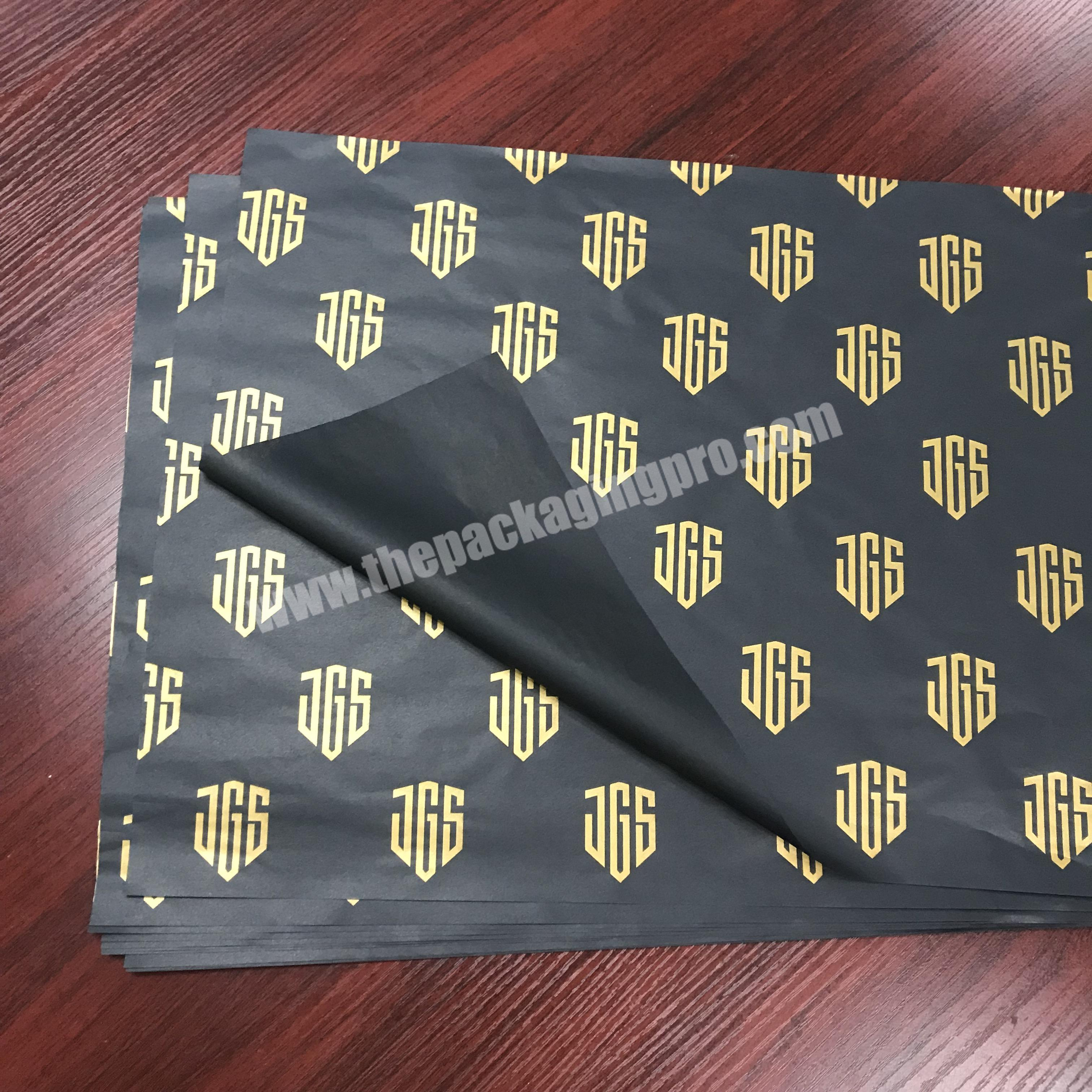 Luxury custom logo printed black wrapping tissue paper  silk wrapping paper