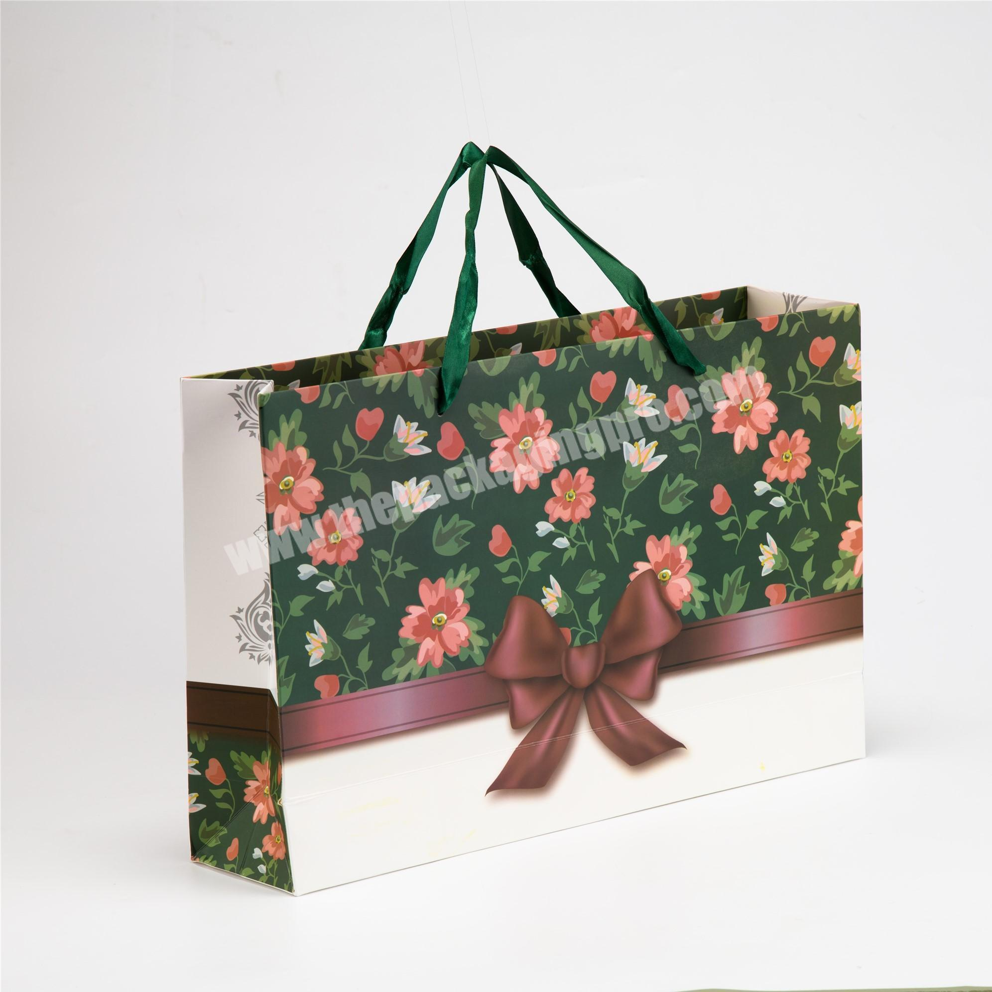 Factory white kraft paper shopping bag christmas paper gift bags
