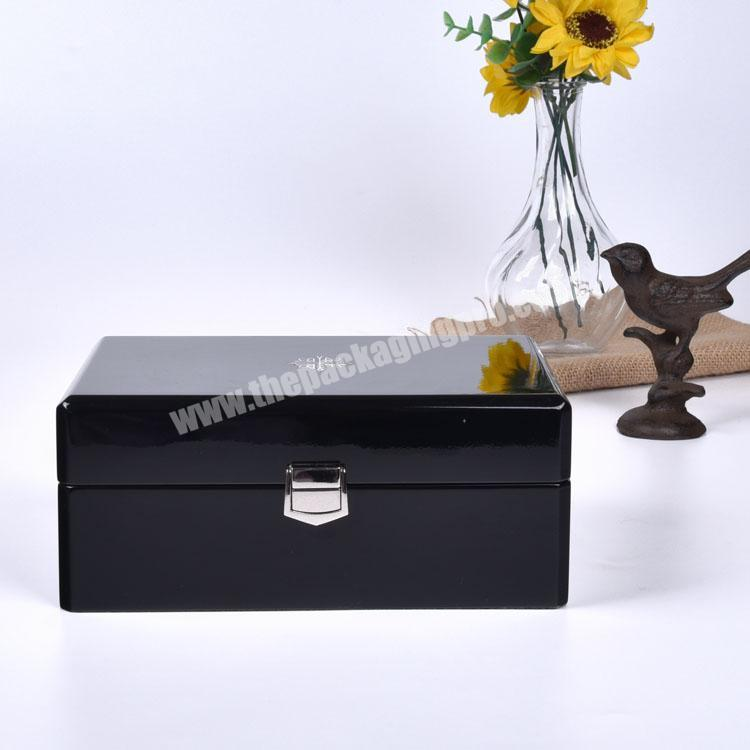 Manufacturer High Quality Black Lacquered Rectangle Private Label Empty Watch Box For Watches