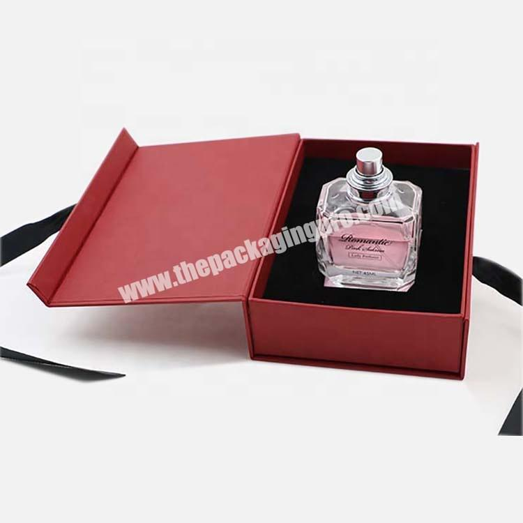 Factory 2020 50ml Custom Red  Perfume Gift Cosmetic Paper Box With Ribbon
