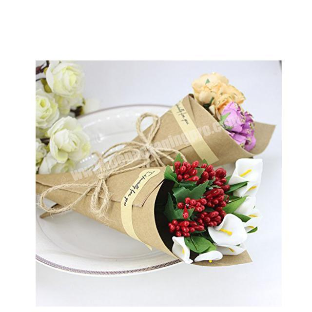 Flower Gift Packaging kraft Paper Decorating Round Brown Florist packaging Waterproof ECO flower take holder
