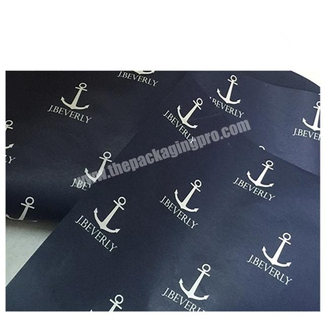 Waterproof wrapping packaging paper Printed logo Black tissue paper for clothes gift