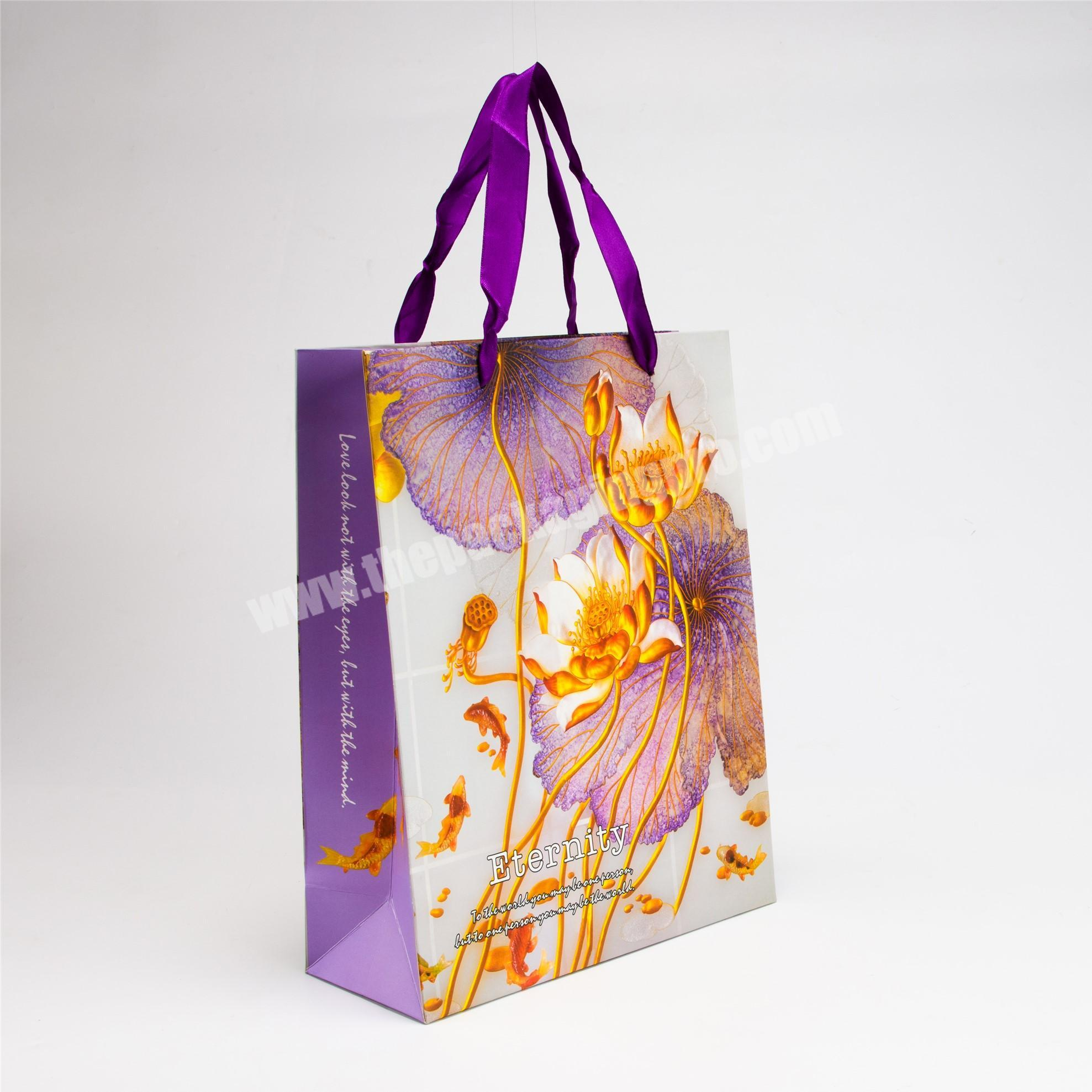 Supplier luxury jean packaging paper bag with handle