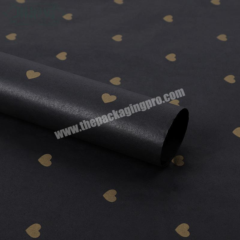 Wholesale Wholesale Price Customized Gold Logo Printing Black Tissue Paper With Heart Shaped For Gift Paper Tissue