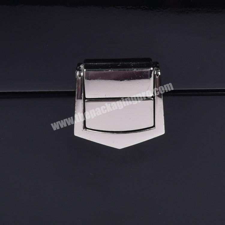 Supplier High Quality Black Lacquered Rectangle Private Label Empty Watch Box For Watches