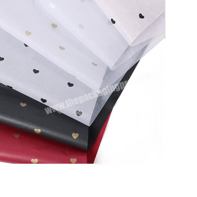 Supplier Wholesale Price Customized Gold Logo Printing Black Tissue Paper With Heart Shaped For Gift Paper Tissue