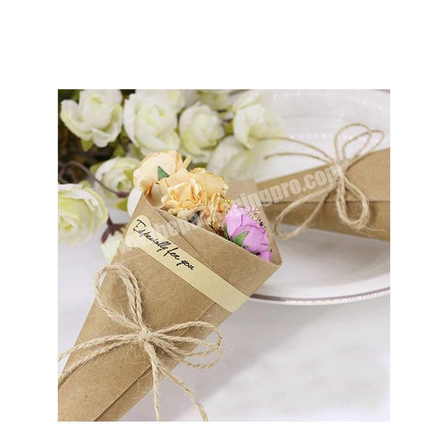 Shop Flower Gift Packaging kraft Paper Decorating Round Brown Florist packaging Waterproof ECO flower take holder