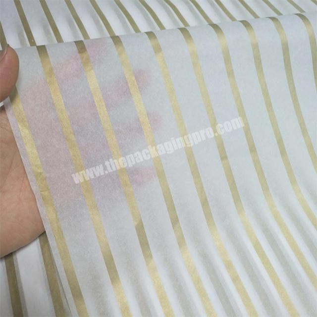 17gsm withe tissue paper Metallic gold strip printed clothing factory wrapping paper packaging