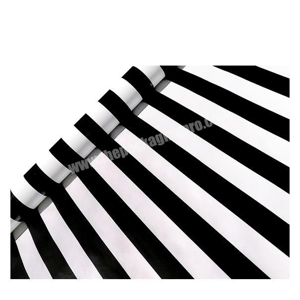 Custom printed 80gsm coated paper packaging black and white striped printing wrapping paper for festival gift