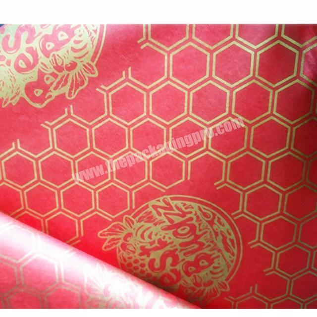 Luxury Happy Time Lucky Red Tissue Paper Printing 17gsm Wrapping Tissue Paper with Logo