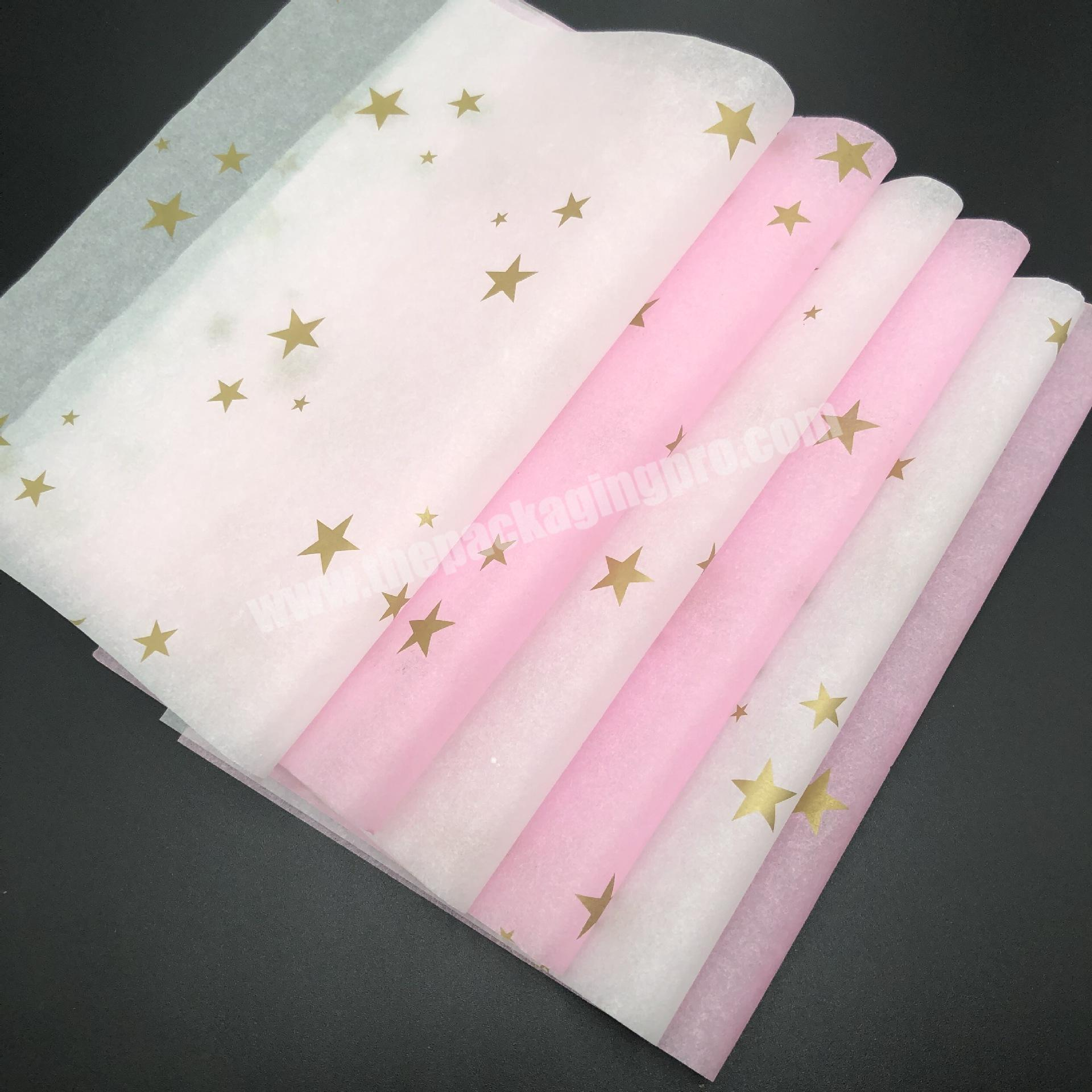 Supplier Luxury custom printed colour garment wrapping tissue paper with gold logo  for gift wrapping