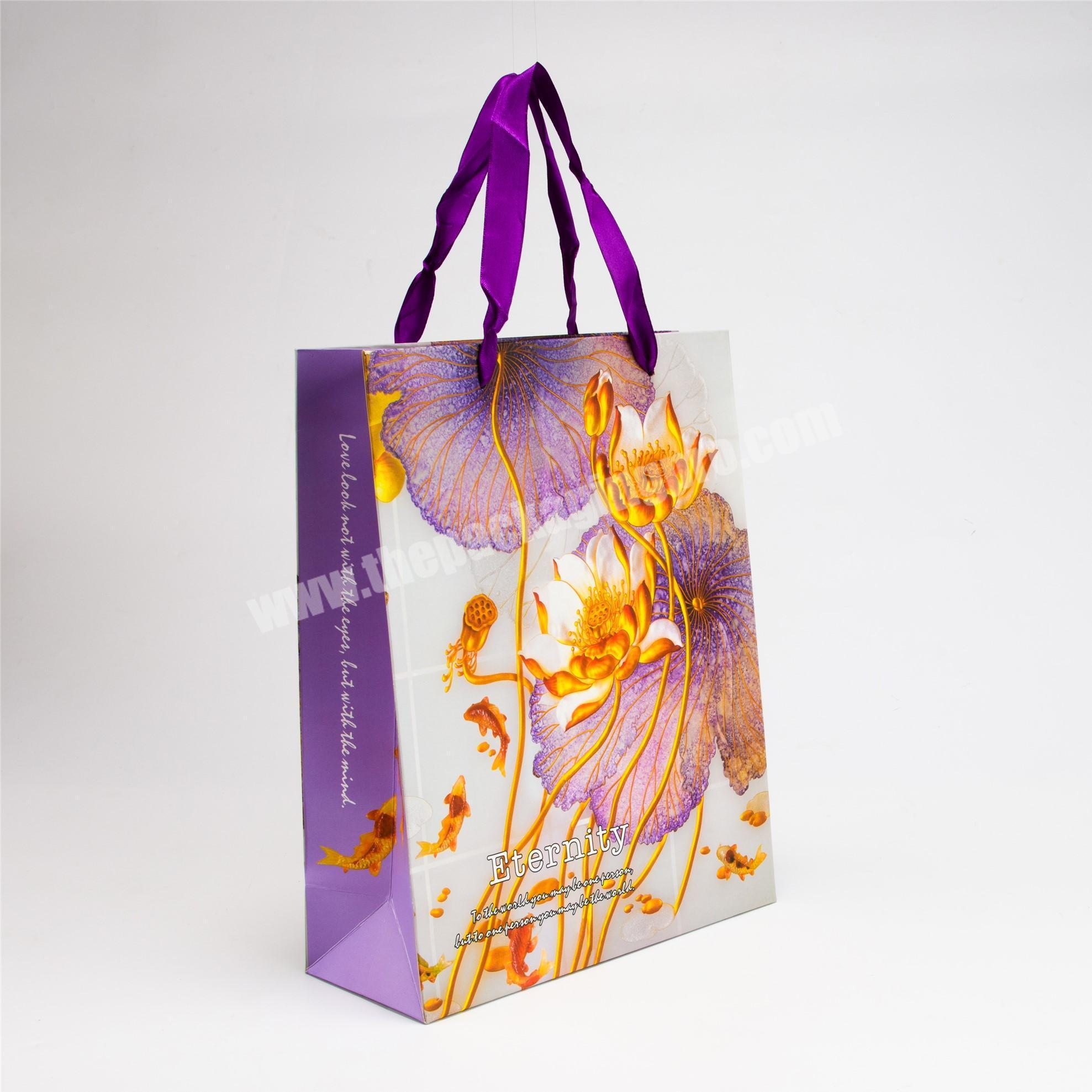 Supplier luxury hand bags paper packaging kraft  wedding