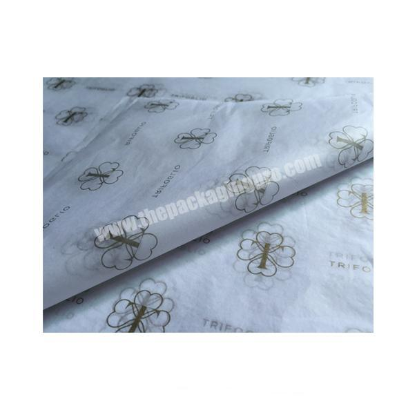 Wholesale Popular Fancy white silk paper Clothes Wrapping Tissue paper with silver logo