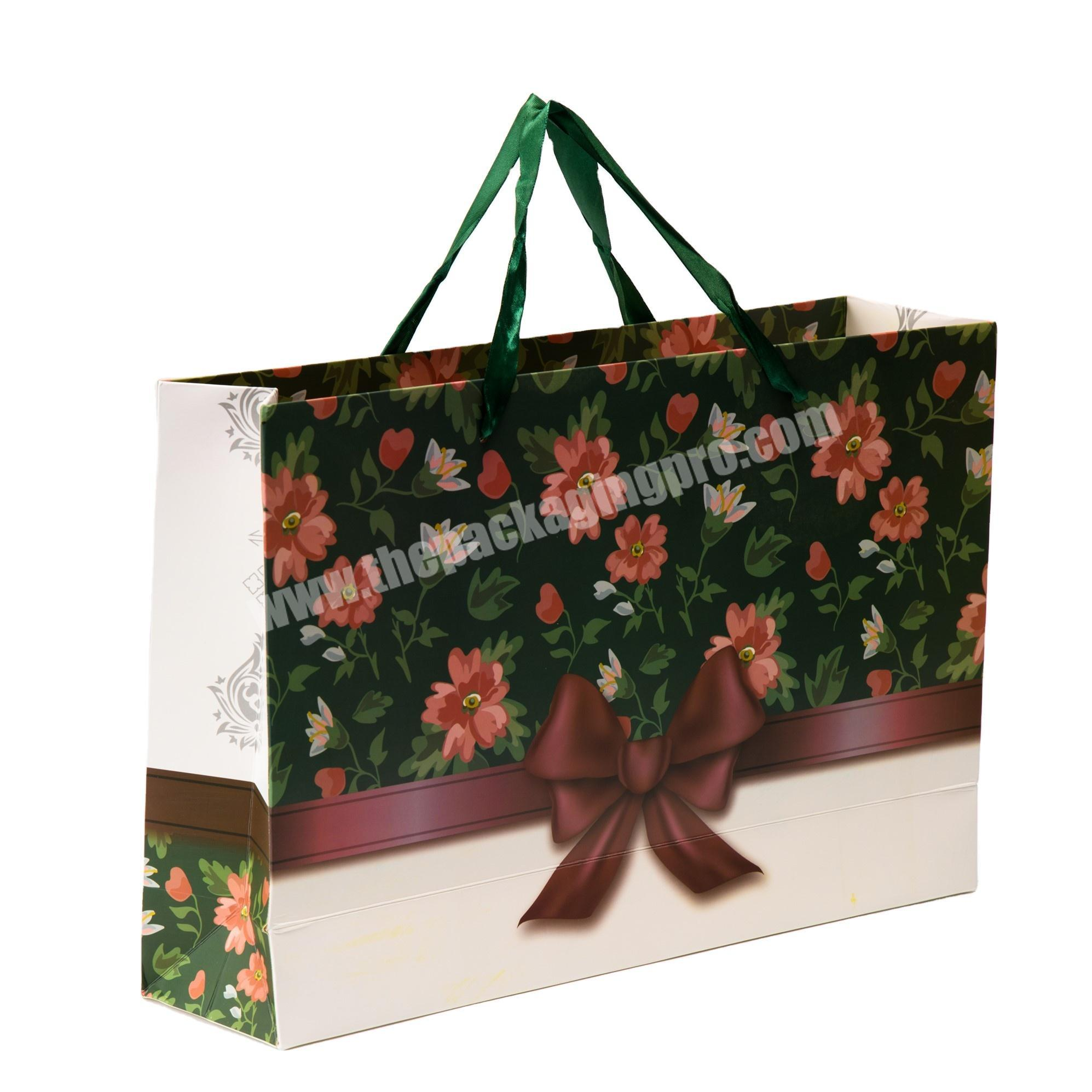 Custom white kraft paper shopping bag christmas paper gift bags