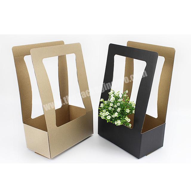 Custom logo print square bottom base paper flower carry bag paper box bag for flower box