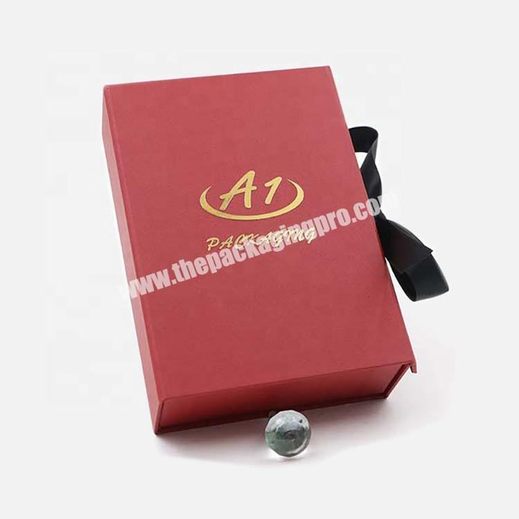 Supplier 2020 50ml Custom Red  Perfume Gift Cosmetic Paper Box With Ribbon