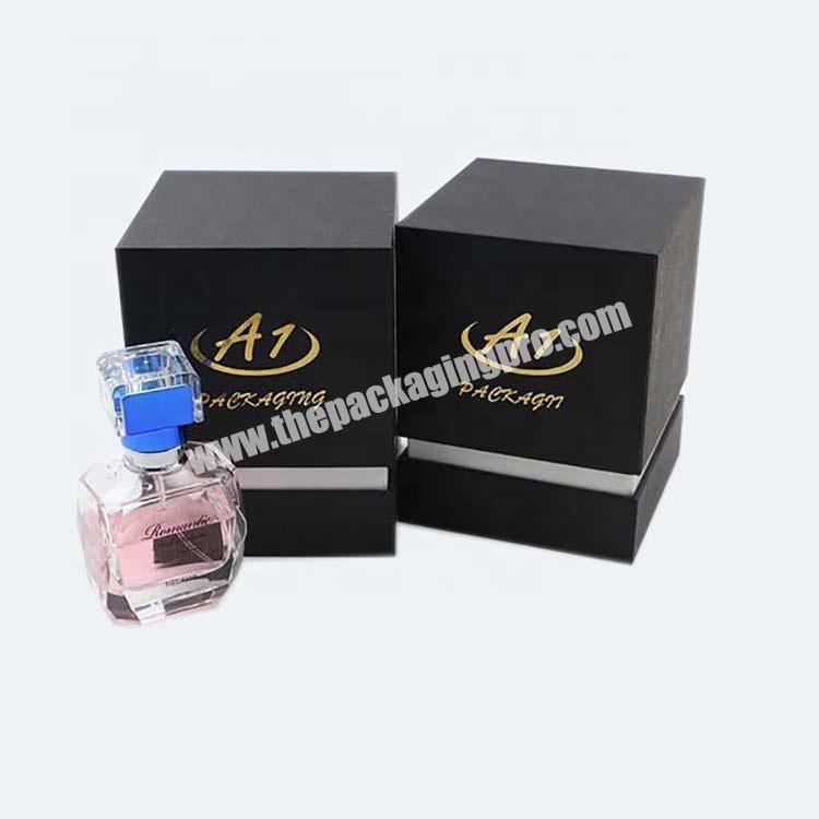 Rigid Black Perfume Cucstom Packaging Box With Stamping Logo